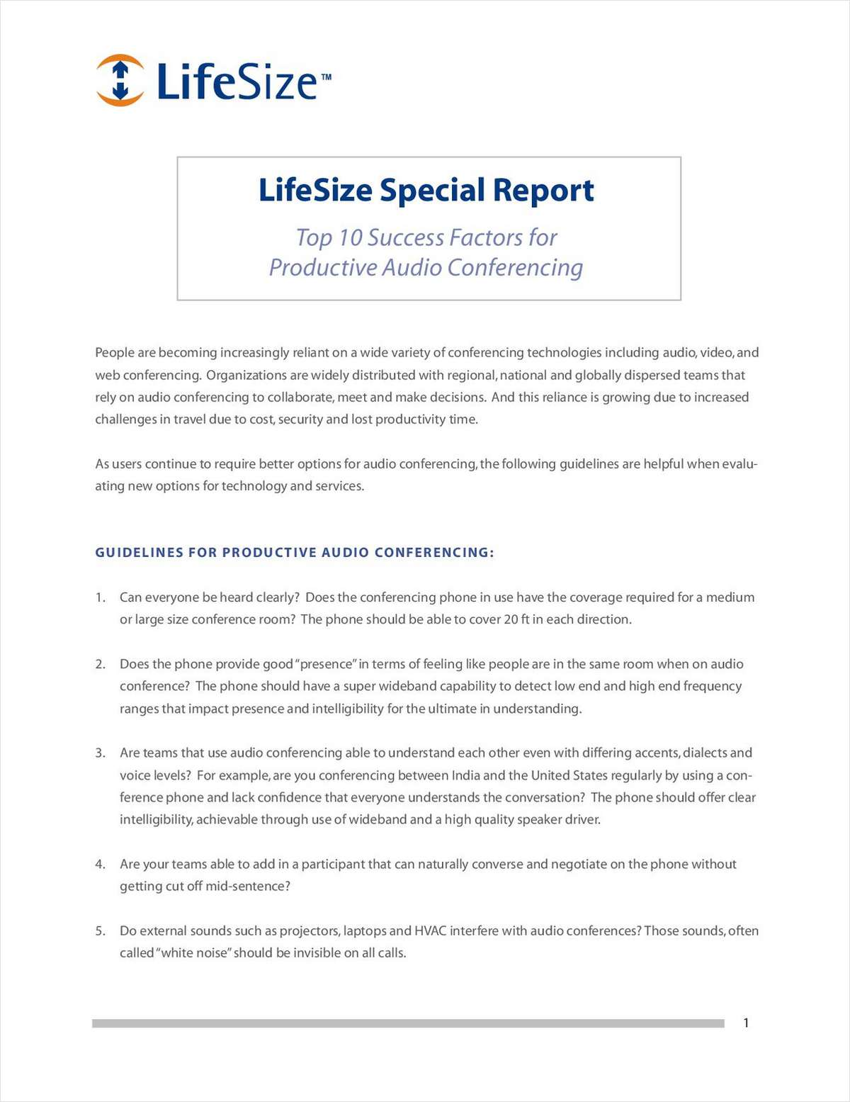 Top 10 Success Factors for Productive Audio Conferencing