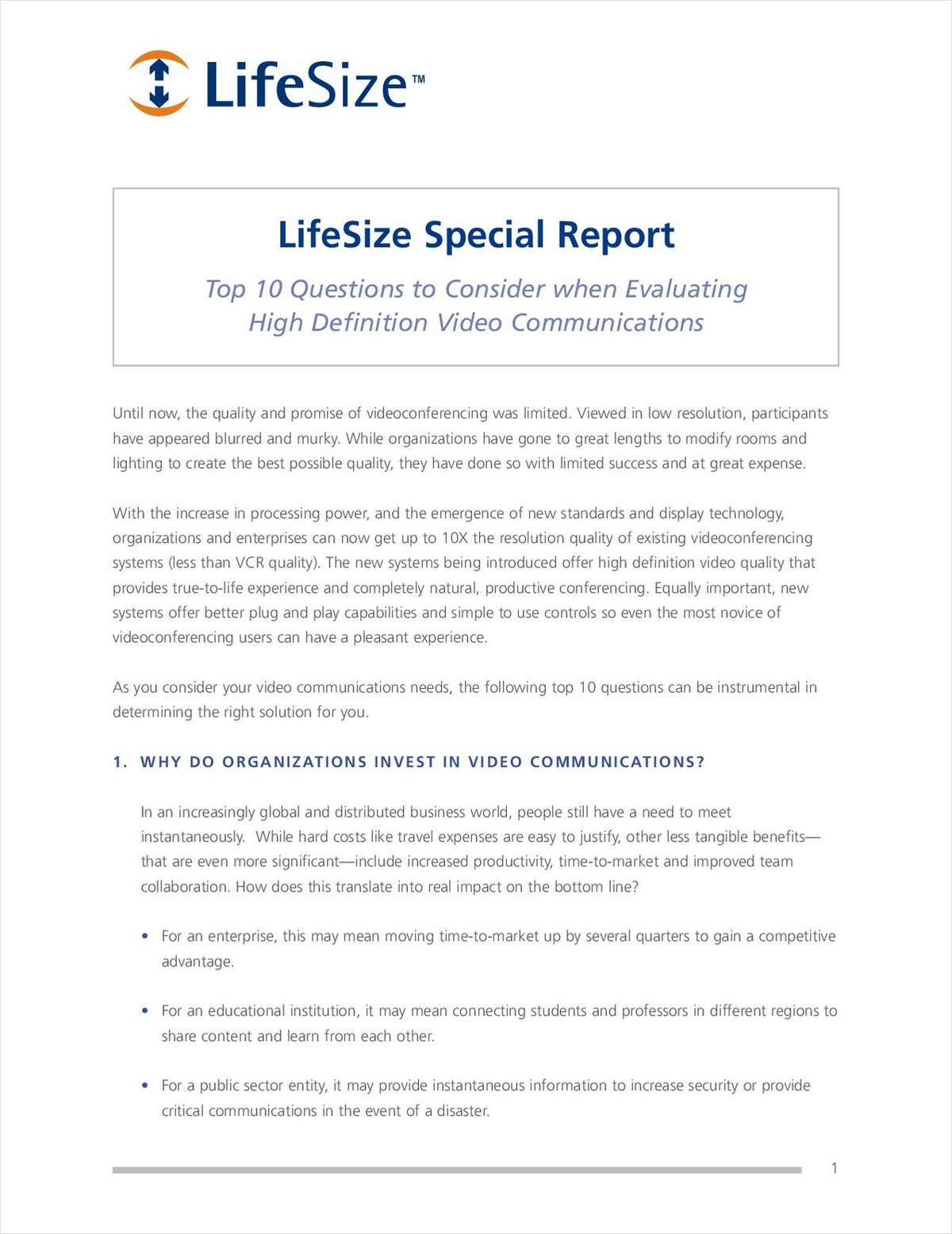 Read the Facts Before You Buy; Download Free Special Report on HD Video Conferencing Solutions