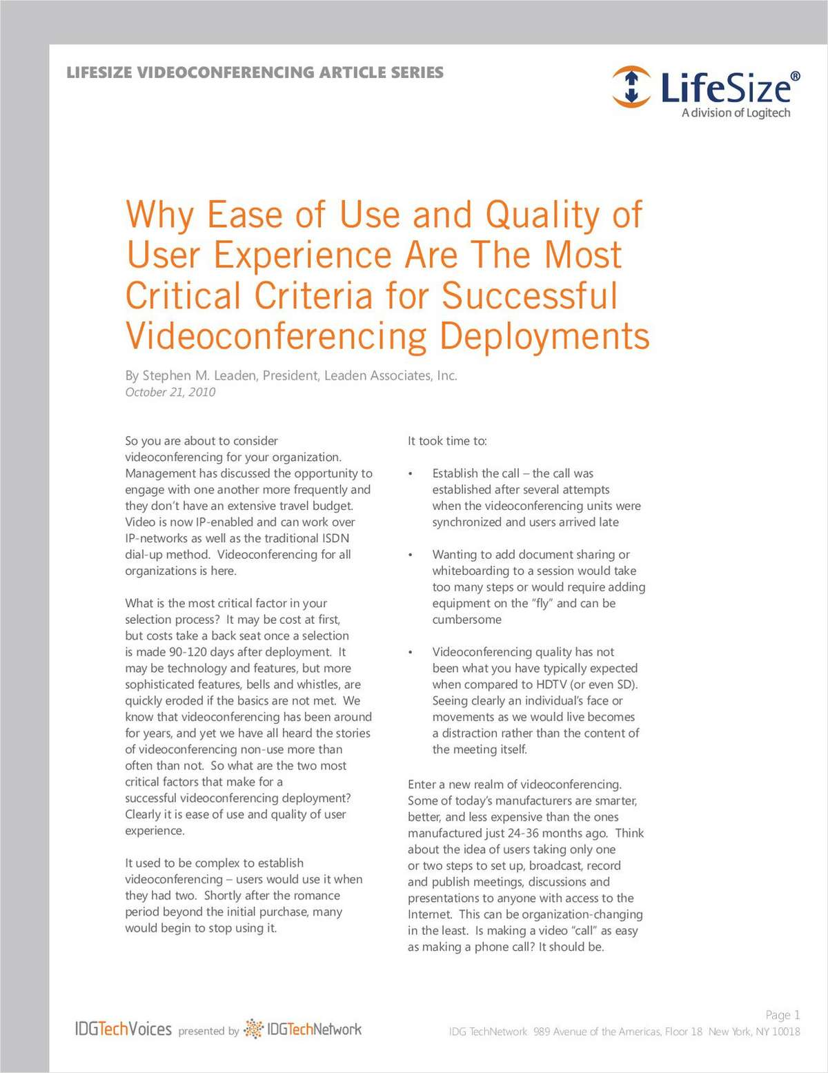 Why Ease of Use and Quality of User Experience Are The Most Critical Criteria for Successful Videoconferencing Deployments