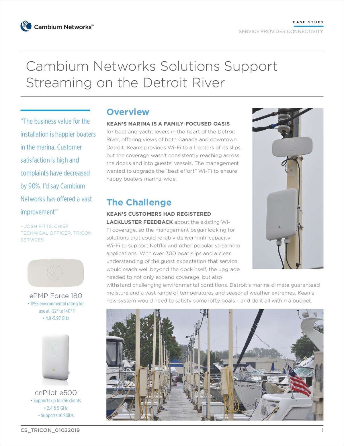 Cambium Networks Solutions Support Streaming on the Detroit River