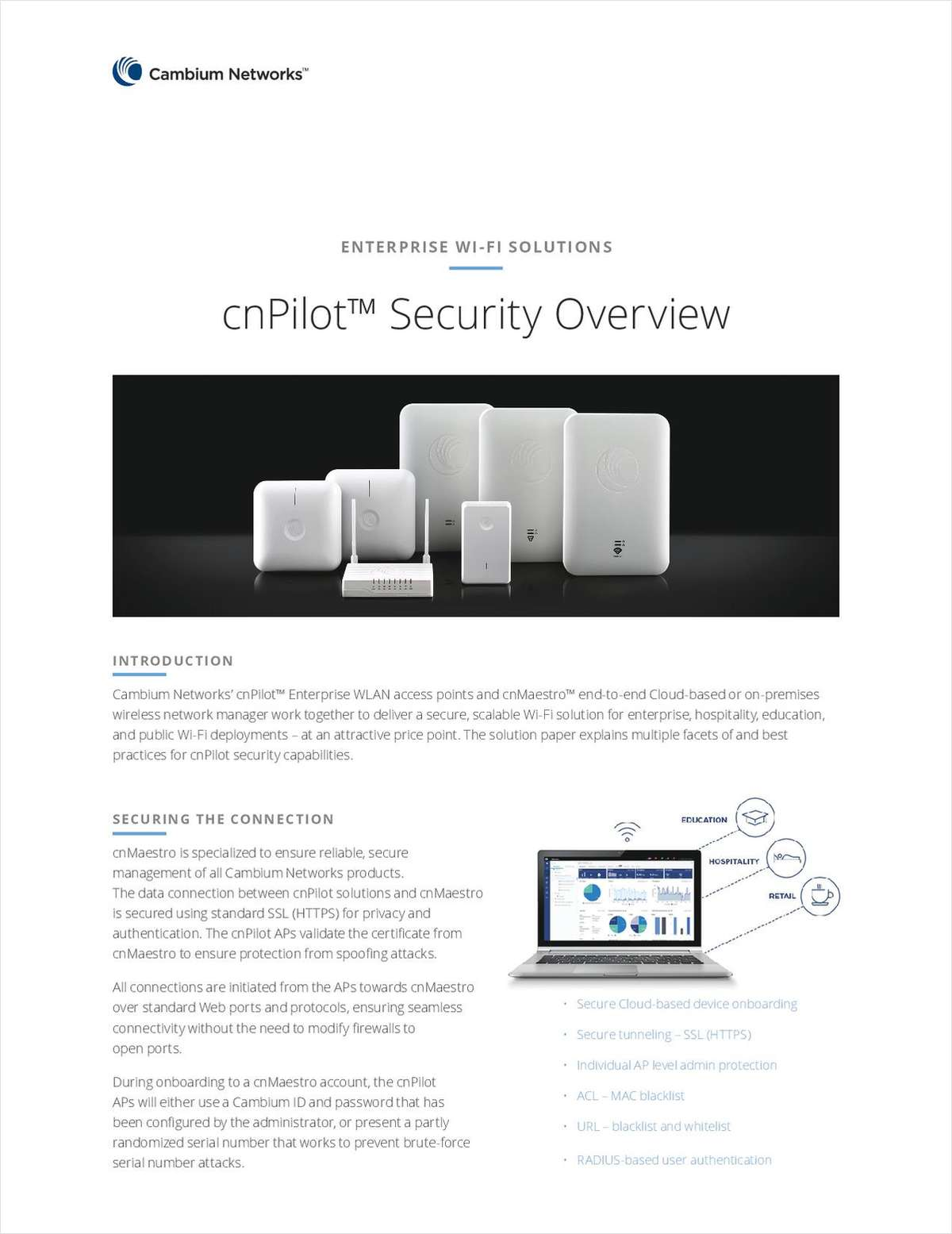 cnPilot™ Security Overview