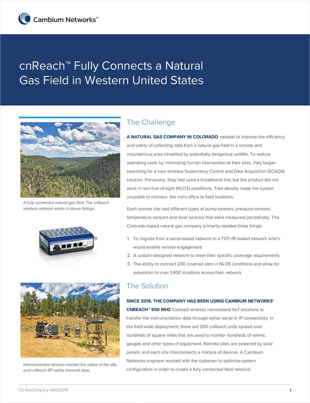 cnReach™ Fully Connects a Natural Gas Field in Western United States