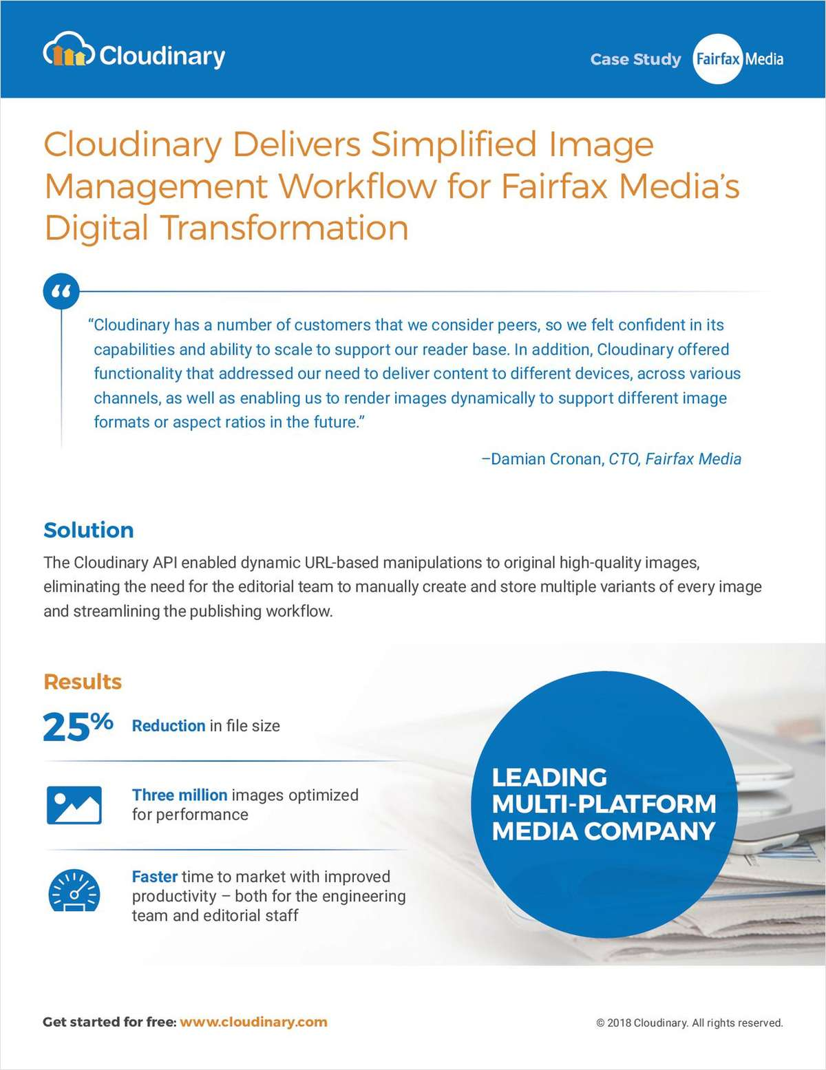 Cloudinary Delivers Simplified Image Management Workflow for Fairfax Media's Digital Transformation