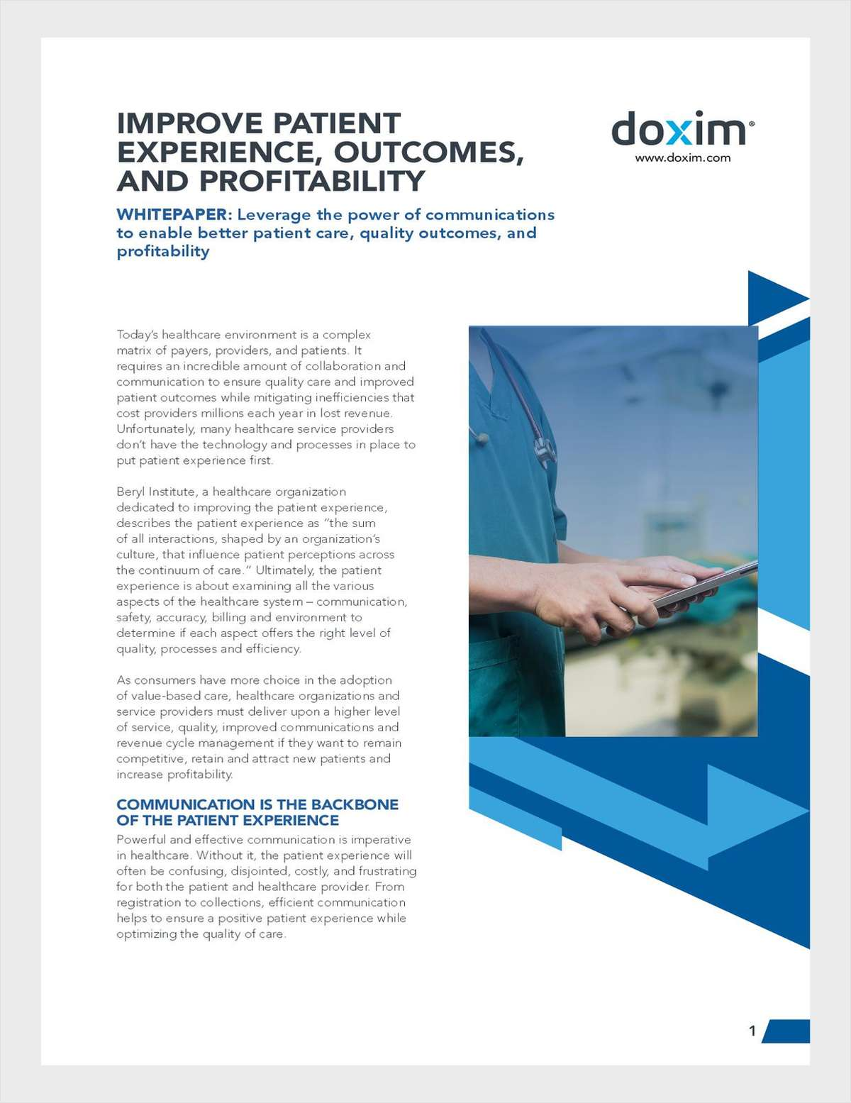 Improve Patient Experience and Outcomes through Communications