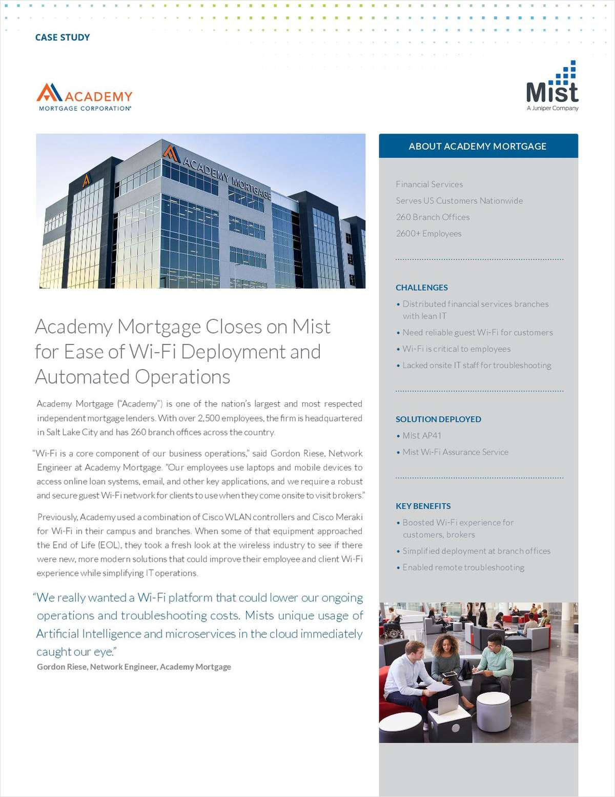 Academy Mortgage Closes on Mist for Ease of Wi-Fi Deployment and Automated Operations