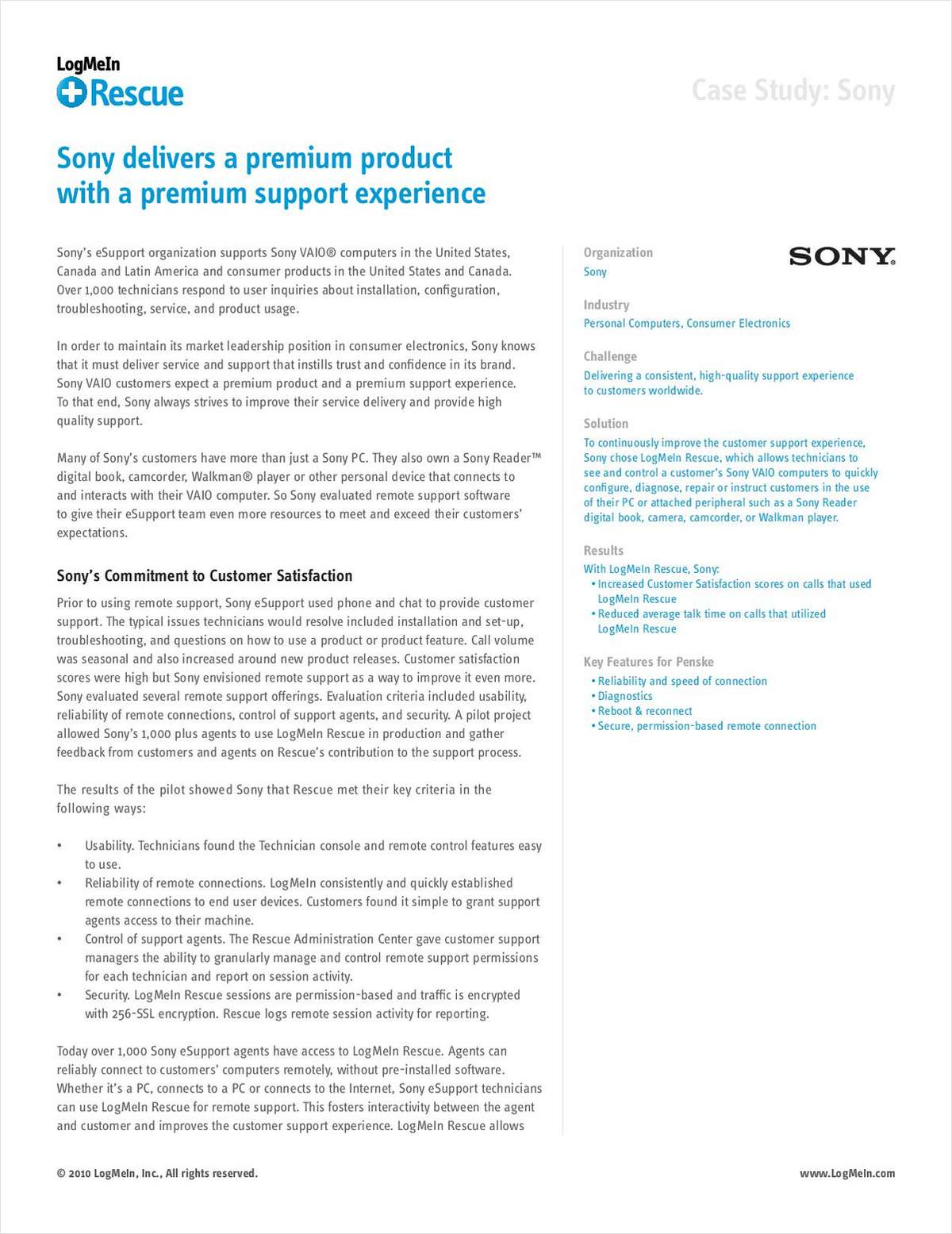 Sony's Premium Customer Support