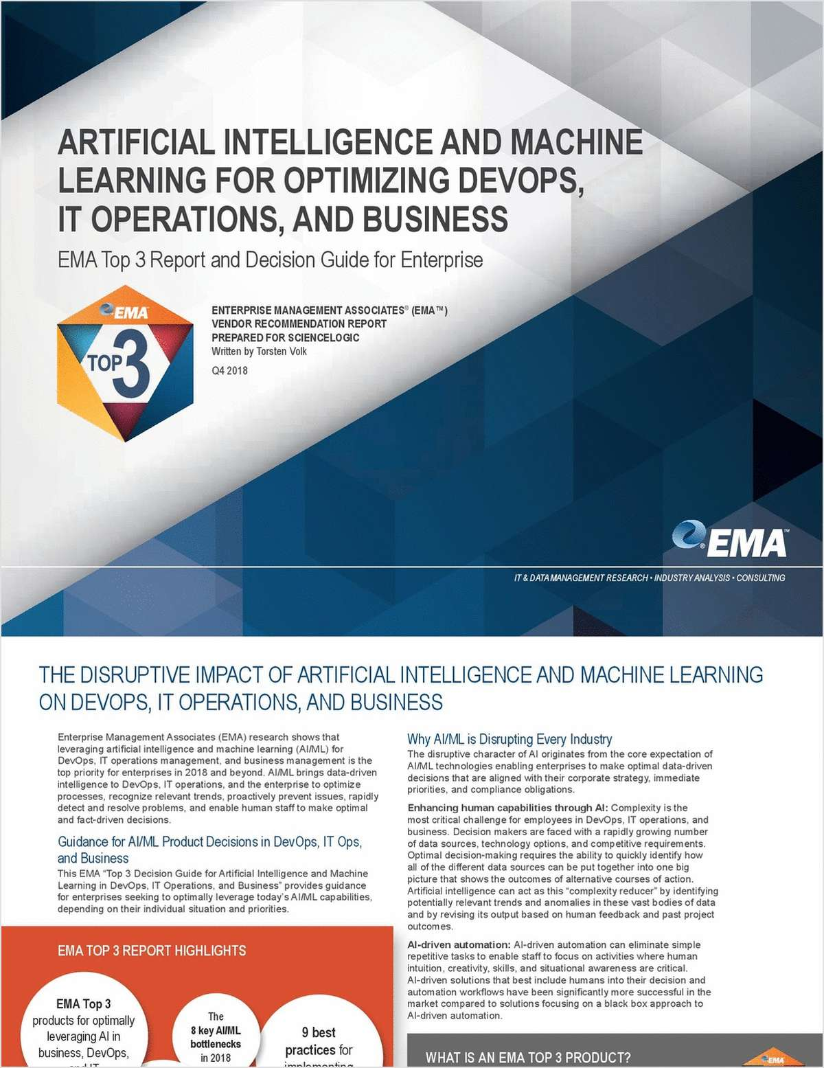 Top 3 Decision Guide for Artificial Intelligence (AI) and Machine Learning (ML) for Optimizing DevOps, IT Operations, and Business