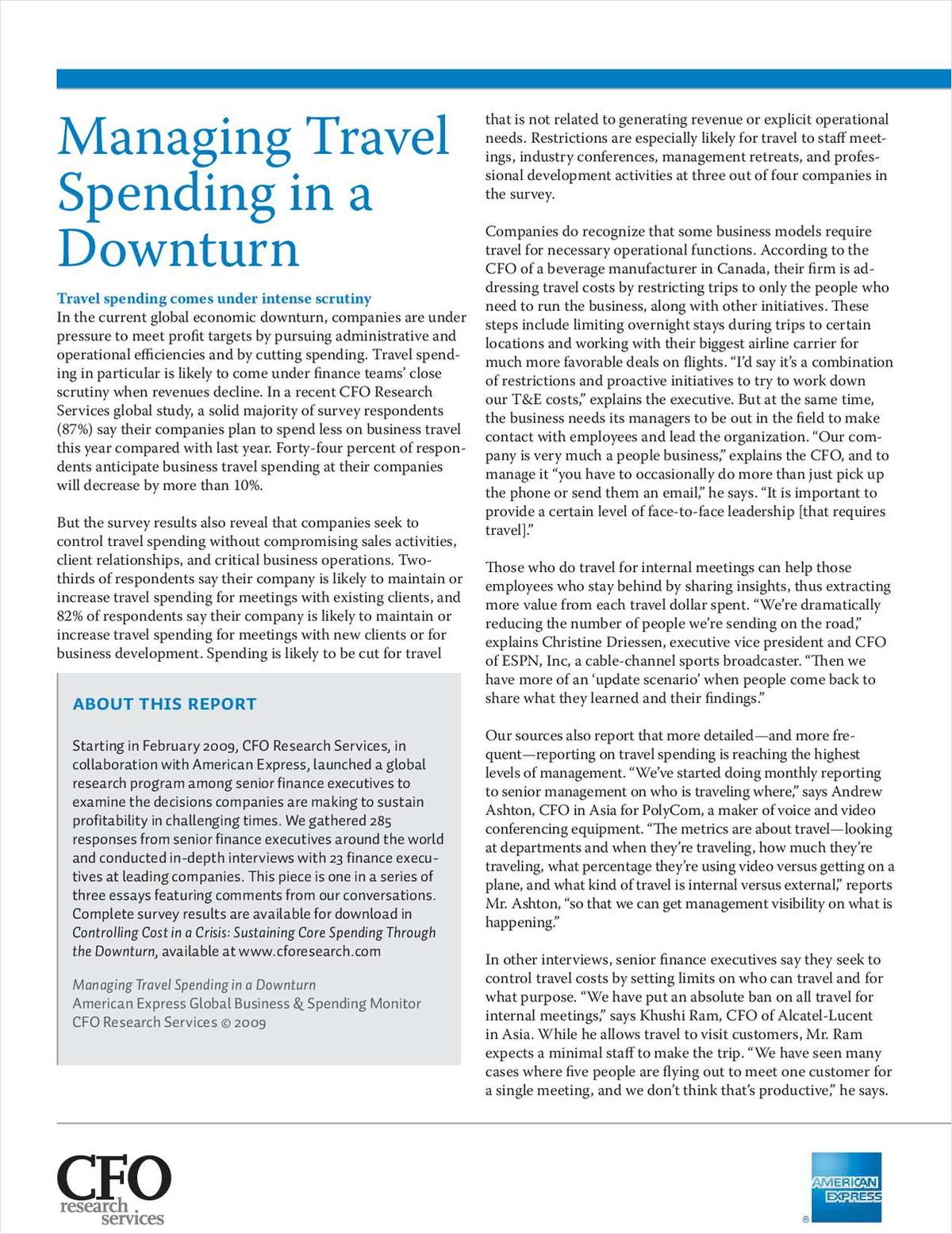 Managing Travel Spending in a Downturn, Free American