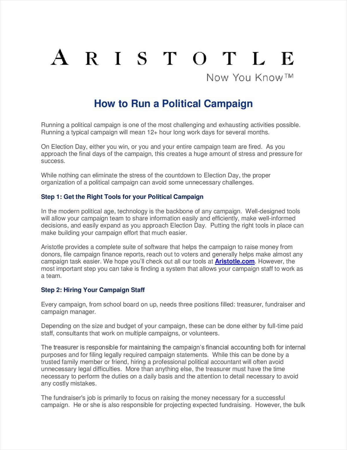 How to Run a Political Campaign