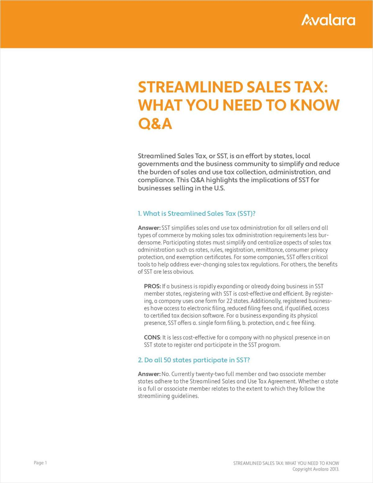 Streamlined Sales Tax:  What You Need To Know Q&A