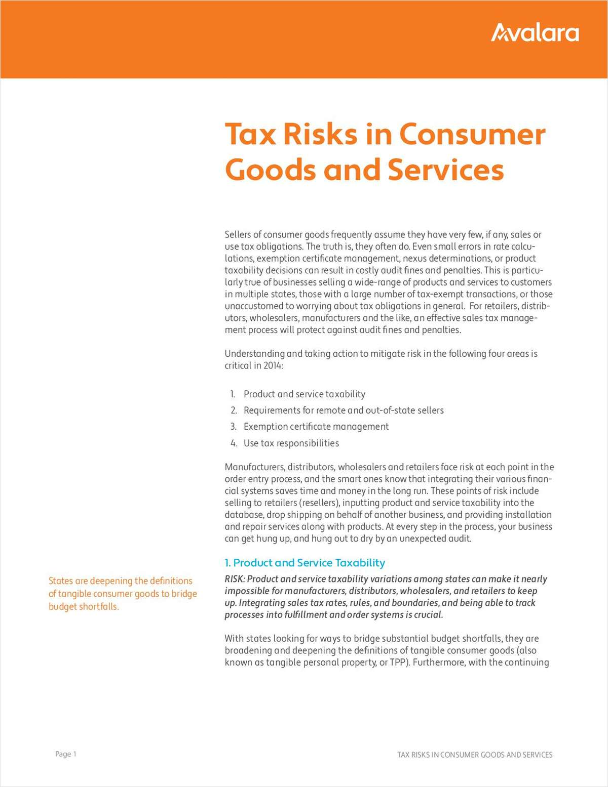 Tax Risks in Consumer Goods and Services