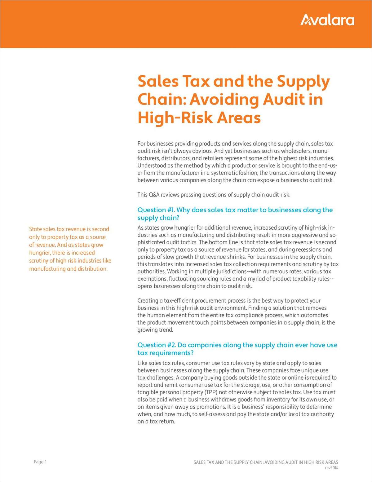 Sales Tax and the Supply Chain: Avoiding Audit in  High-Risk Areas