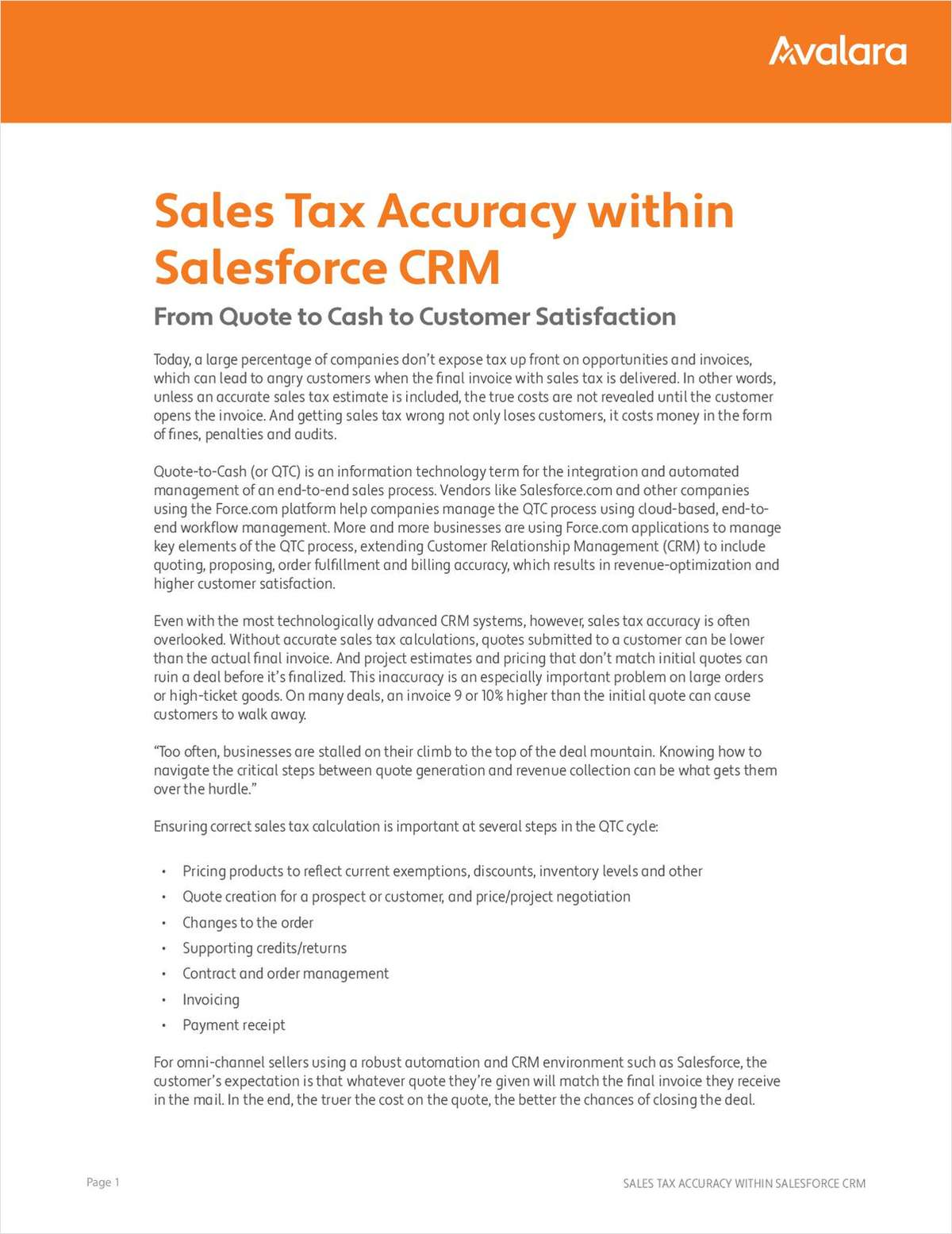 From Quote to Cash to Customer Satisfaction: Sales Tax Accuracy within Your CRM
