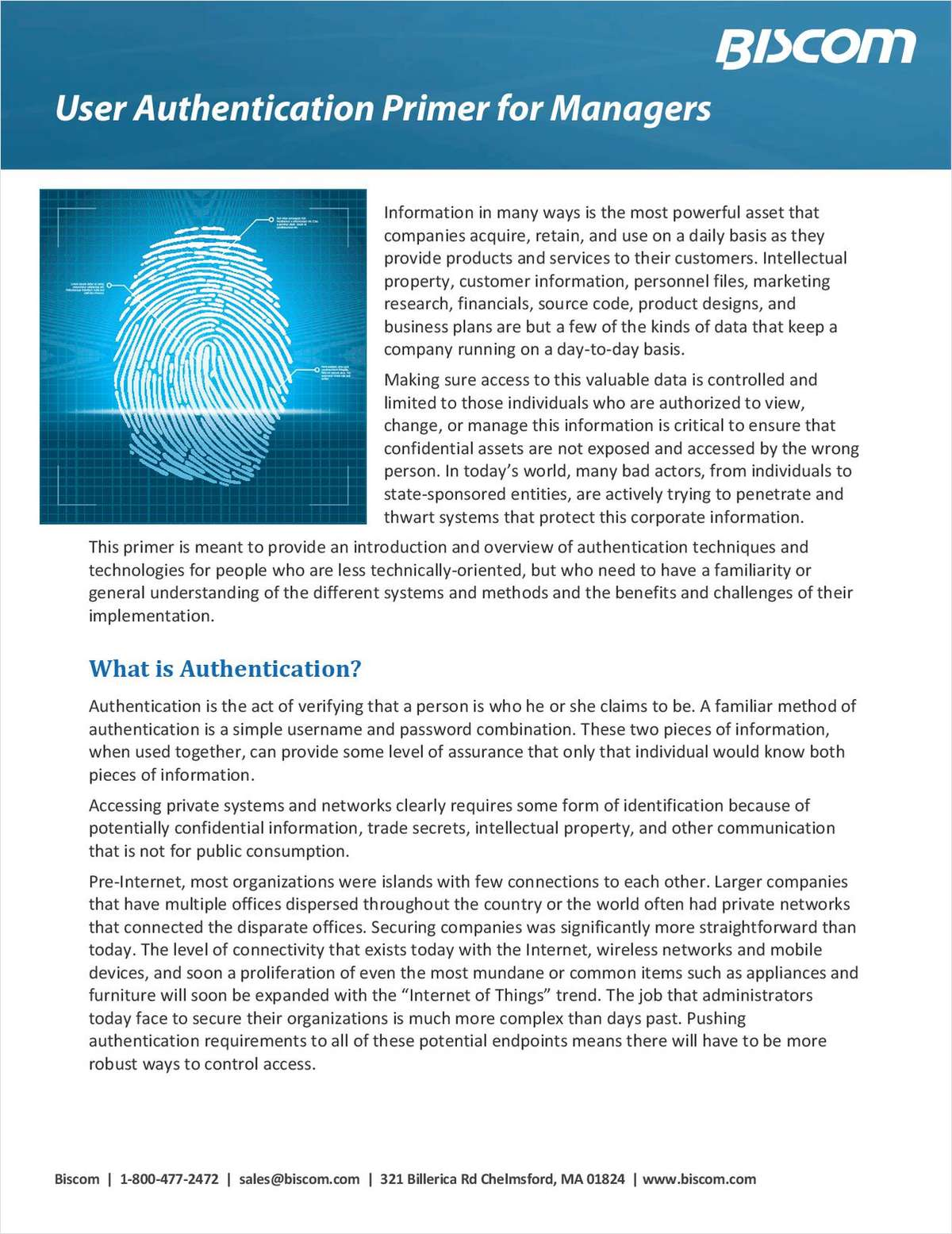 User Authentication Primer for Managers