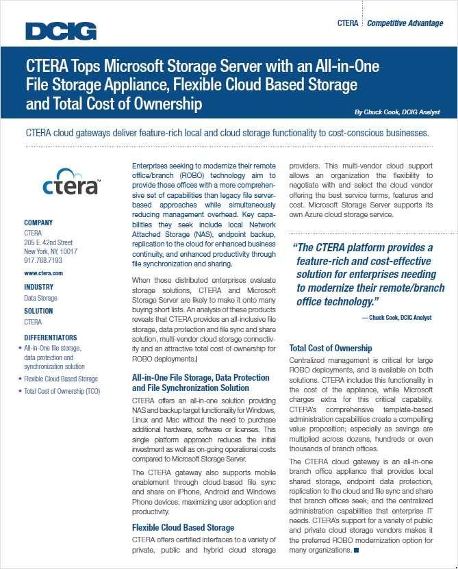 CTERA Tops Microsoft Storage Server