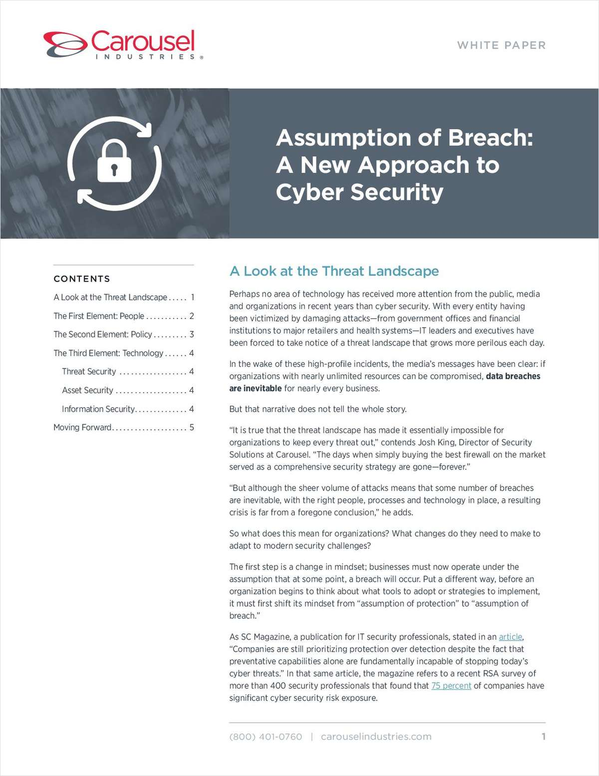 Assumption of Breach: A New Approach to Cyber Security