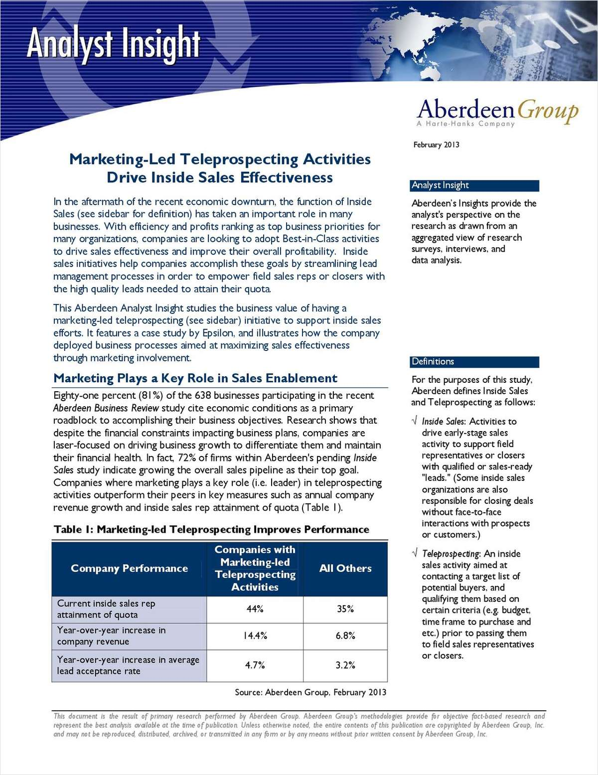 Trends in High Velocity Sales & Marketing by The Aberdeen Group