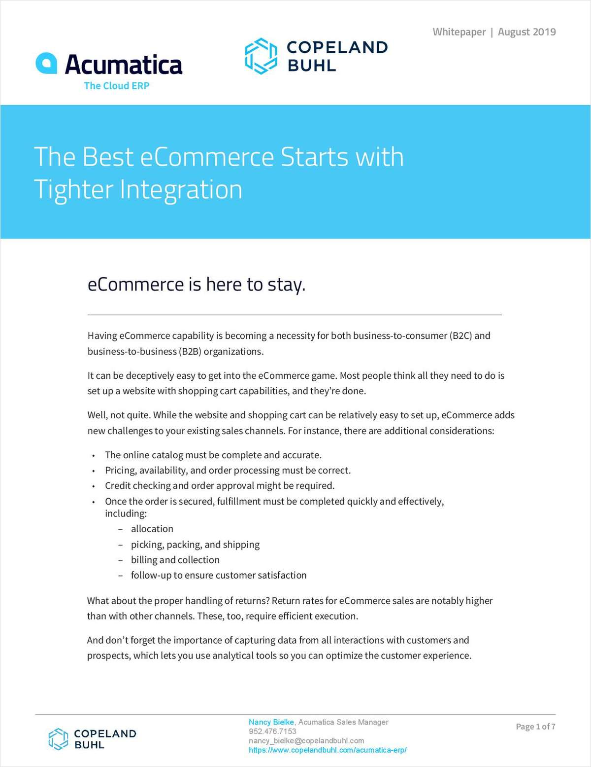 eCommerce Starts with Tighter Integration