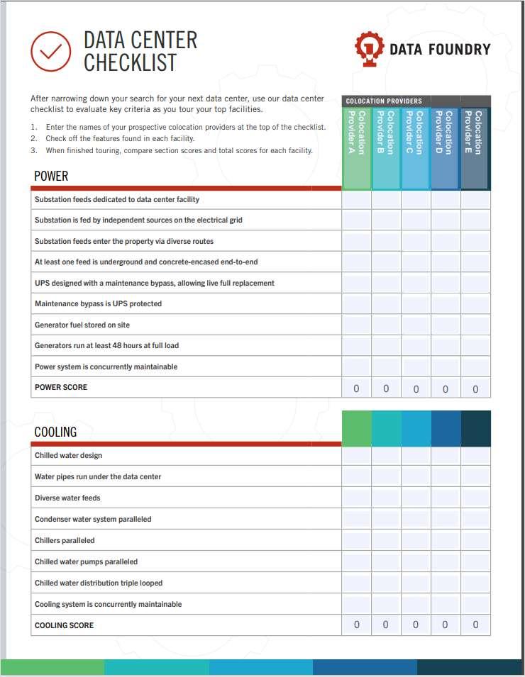 Data Center Comparison Checklist