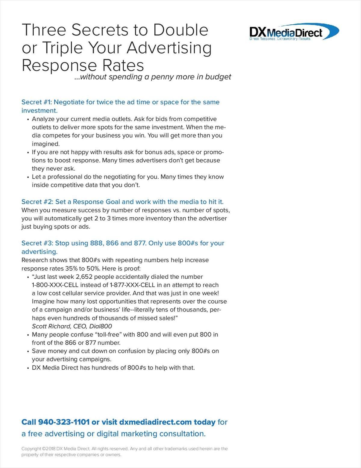 Three Secrets To Double Response Rates