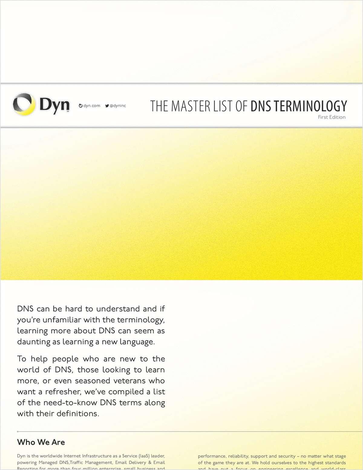 Master List of DNS Terminology