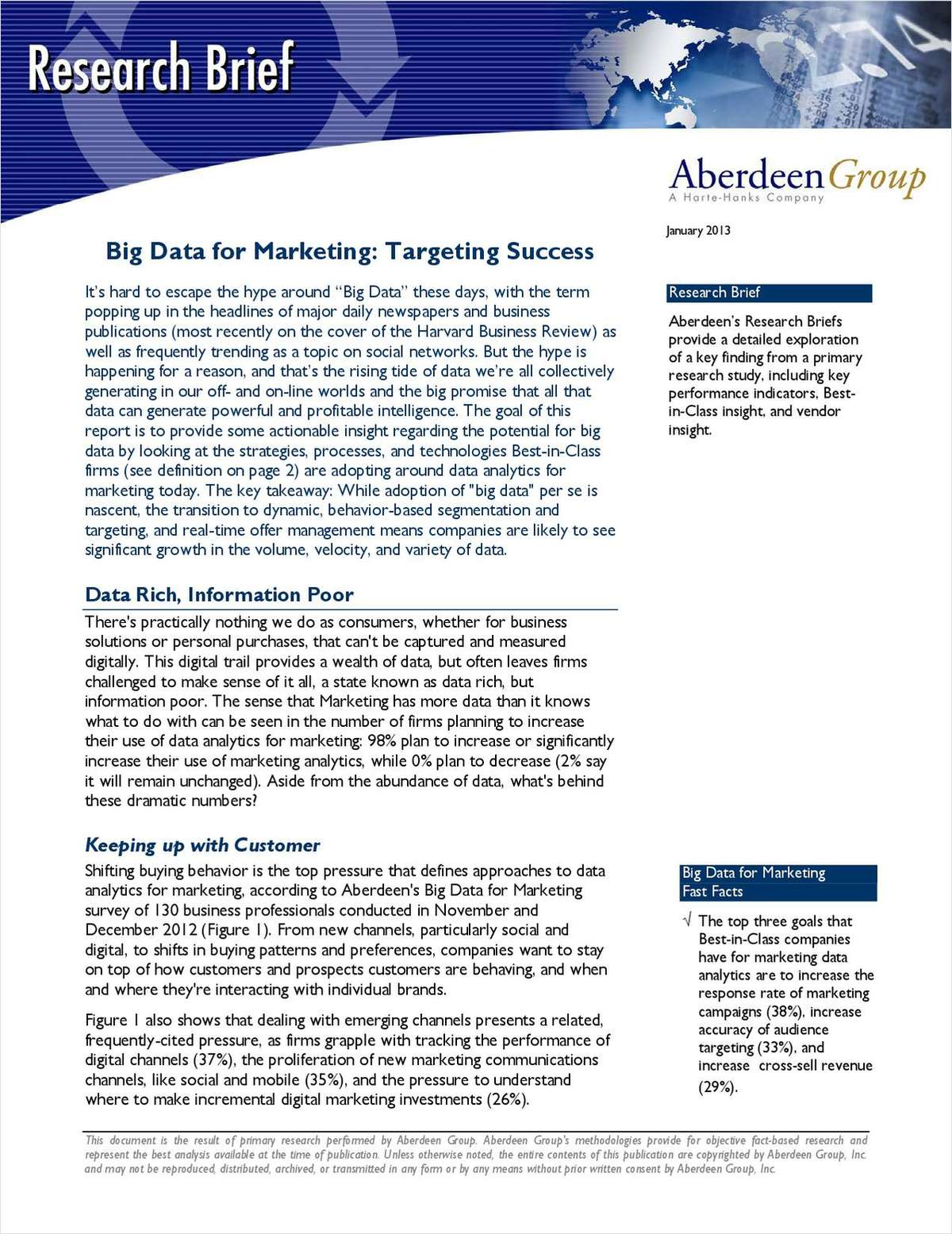 Aberdeen Research Brief: Big Data for Marketing - Targeting Success