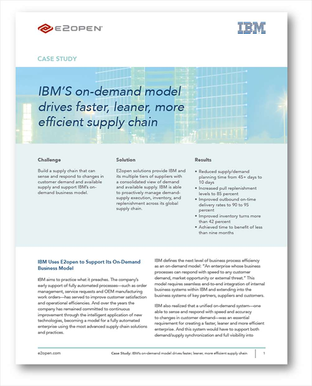IBM's On-Demand Model Drives Faster, Leaner, More Efficient Supply Chain