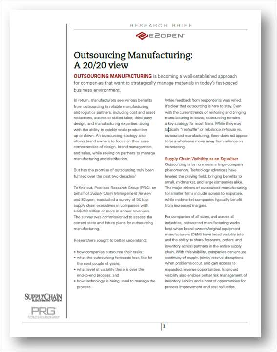 Outsourcing Manufacturing: A 20/20 View