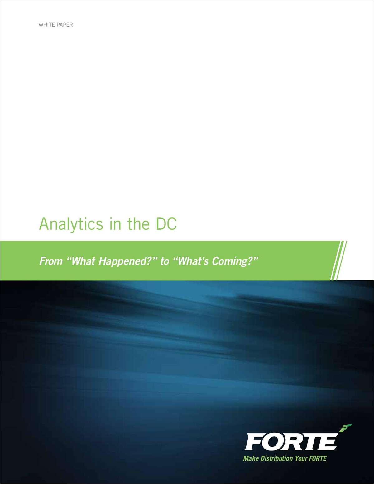 Analytics in the DC: From 'What's Next' to 'What's Coming?'
