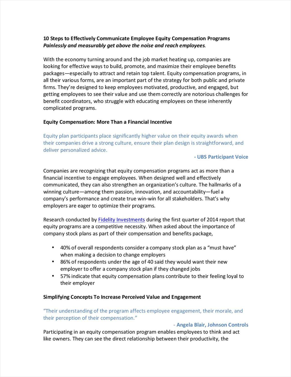 10 Steps to Effectively Communicate Employee Equity Compensation Programs