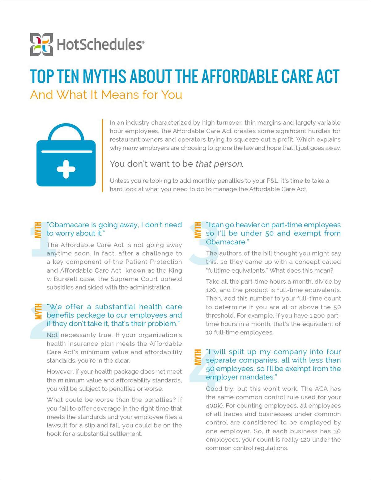 Top Ten Myths About the Affordable Care Act