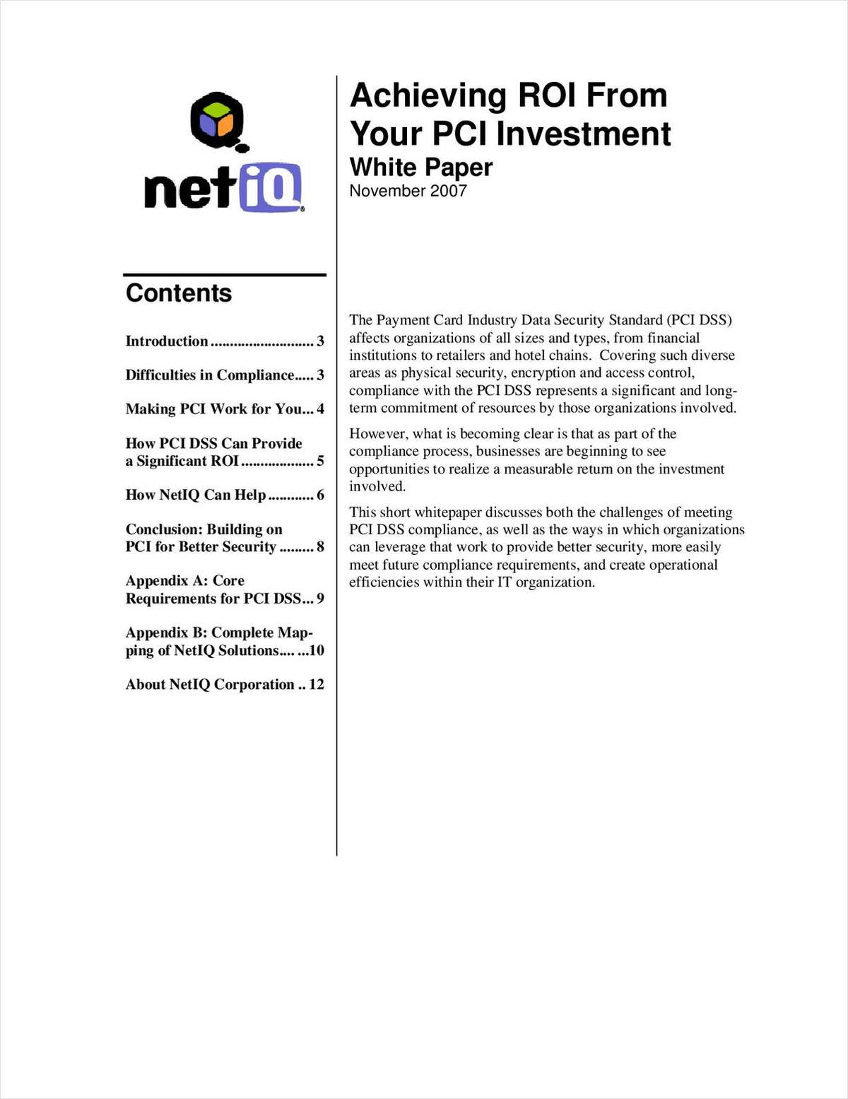Achieving ROI from Your PCI Investment