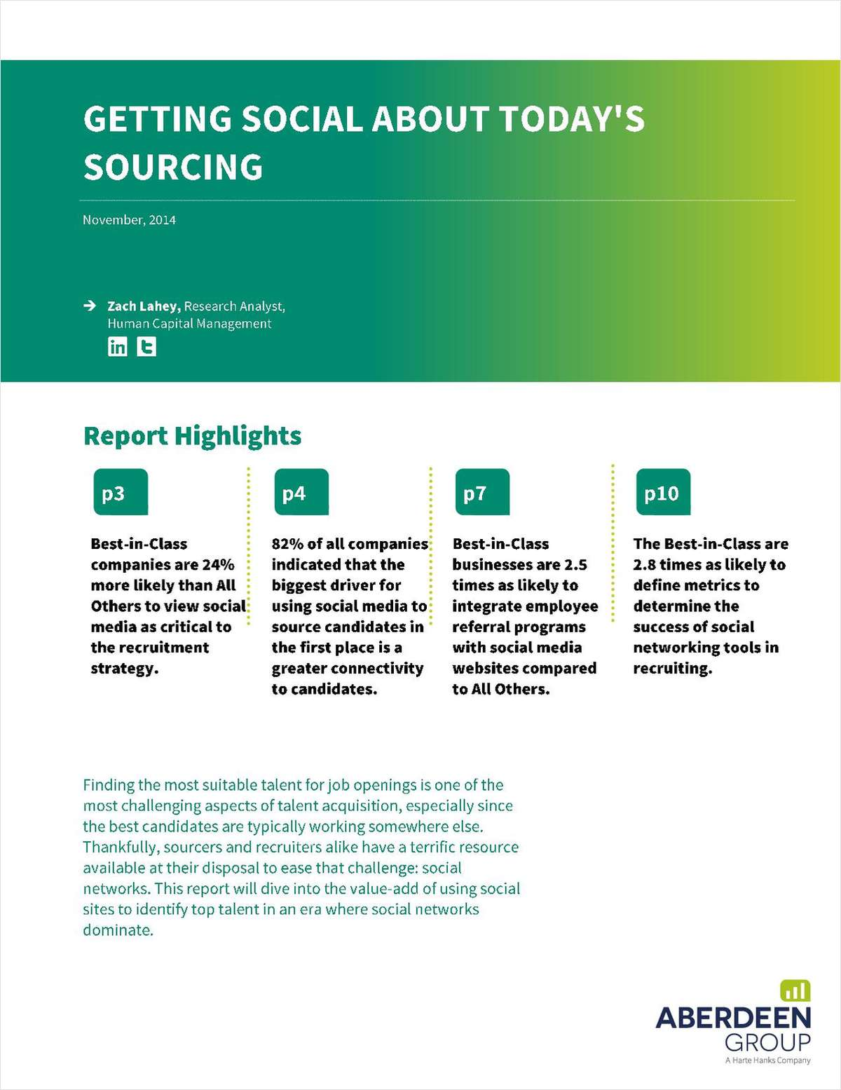 Aberdeen Report: Getting Social About Today's Sourcing