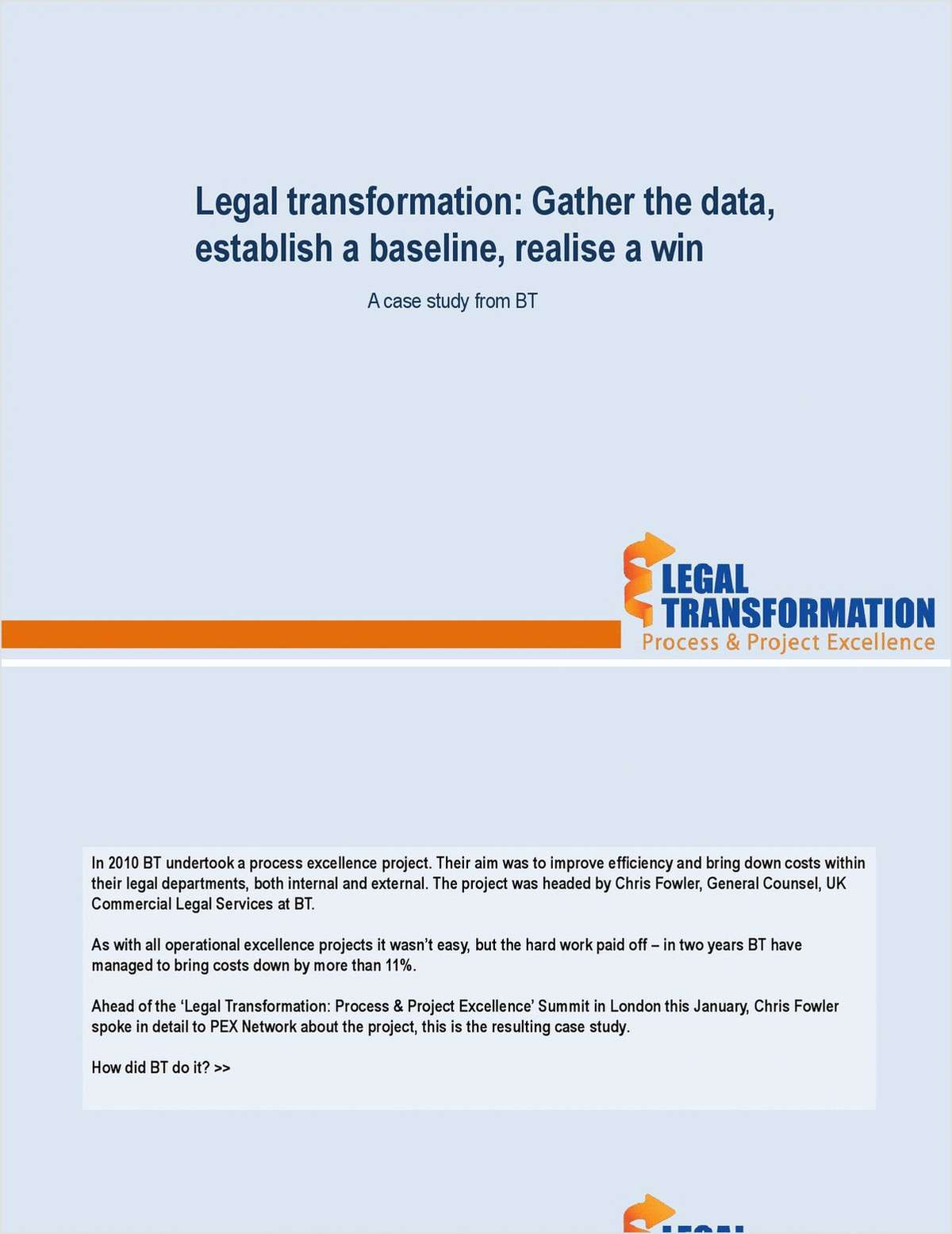 Legal transformation: Gather the data, establish a baseline, realise a win