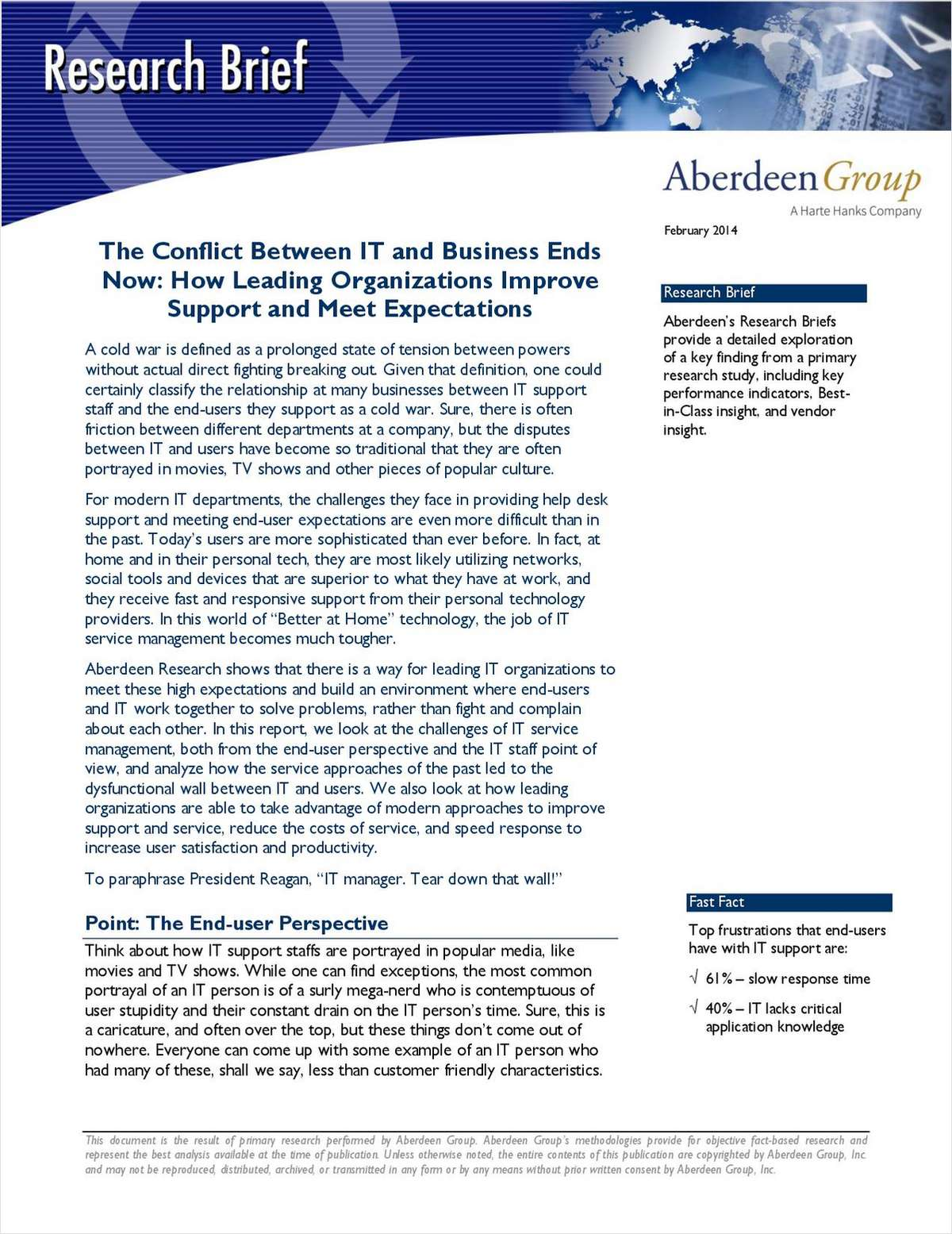 The Conflict Between IT and Business Ends Now: How Leading Organizations Improve Support and Meet Expectations
