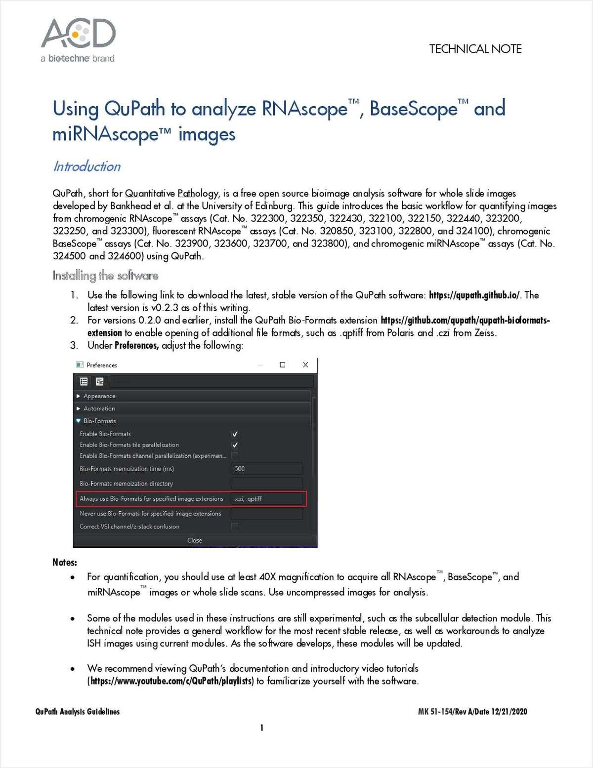 Using QuPath to analyze RNAscope, BaseScope and miRNAscope images