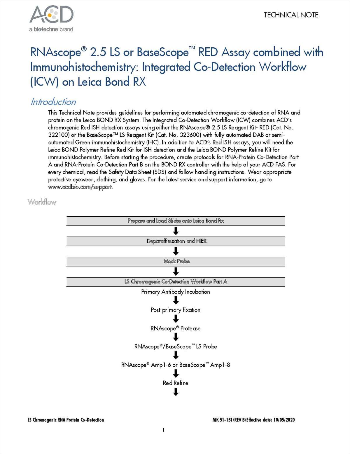 RNAscope 2.5 LS or BaseScope RED Assay Combined with Immunohistochemistry: Integrated Co-Detection Workflow (ICW) on Leica Bond RX