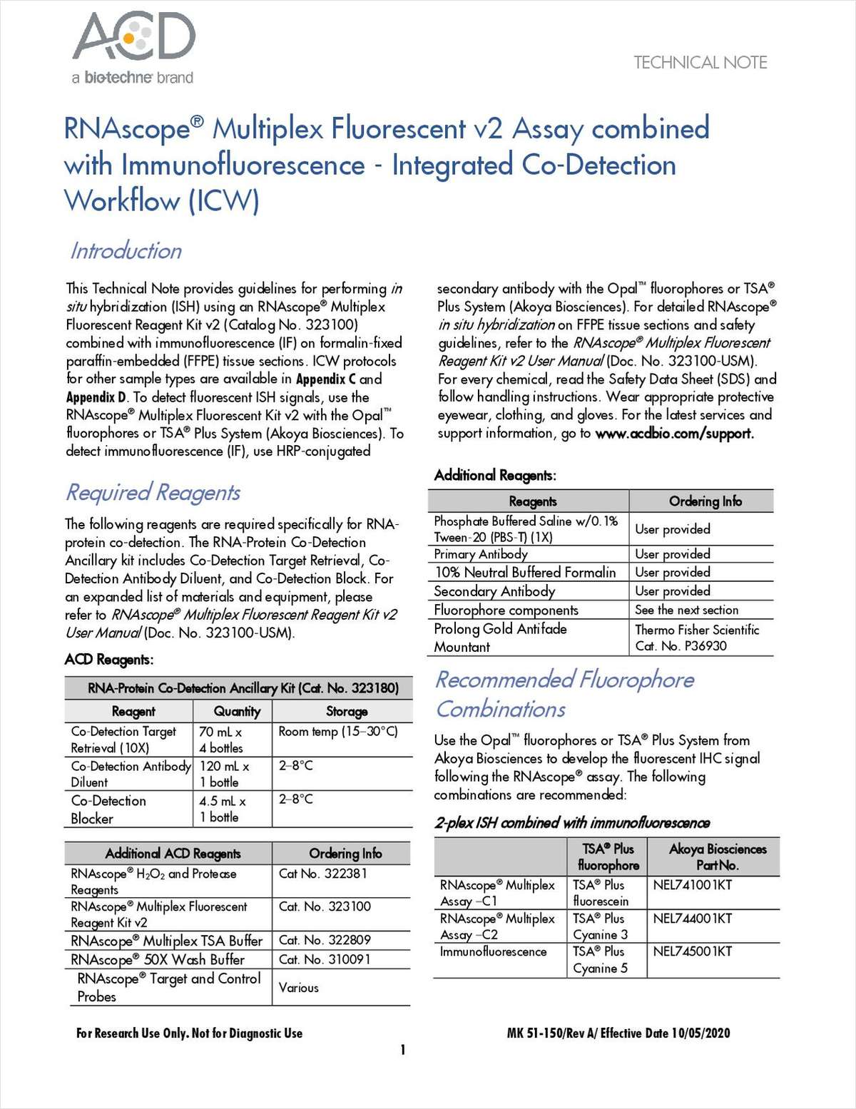 RNAscope Multiplex Fluorescent v2 Assay Combined with Immunofluorescence: Integrated Co-Detection Workflow (ICW)