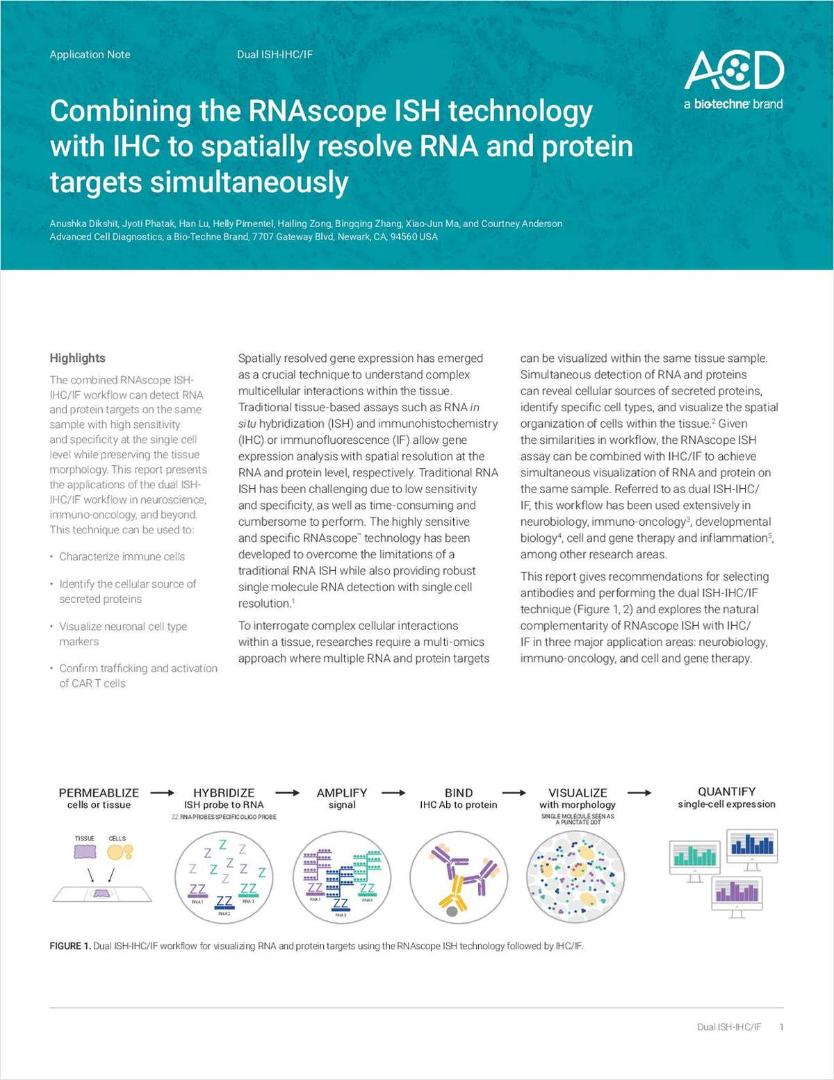 Combining the RNAscope ISH Technology with IHC to Spatially Resolve RNA and Protein Targets Simultaneously