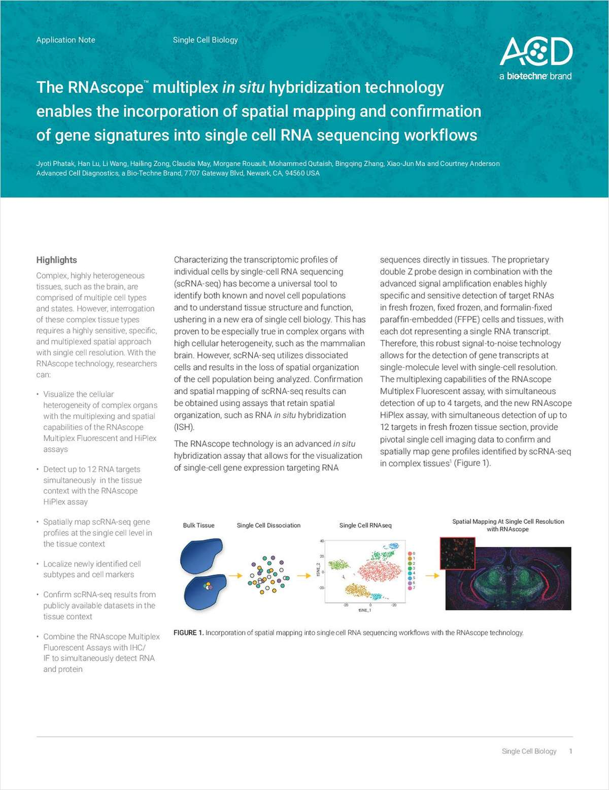 The RNAscope Multiplex In Situ Hybridization Technology Enables the Incorporation of Spatial Mapping and Confirmation of Gene Signatures into Single-Cell RNA Sequencing Workflows