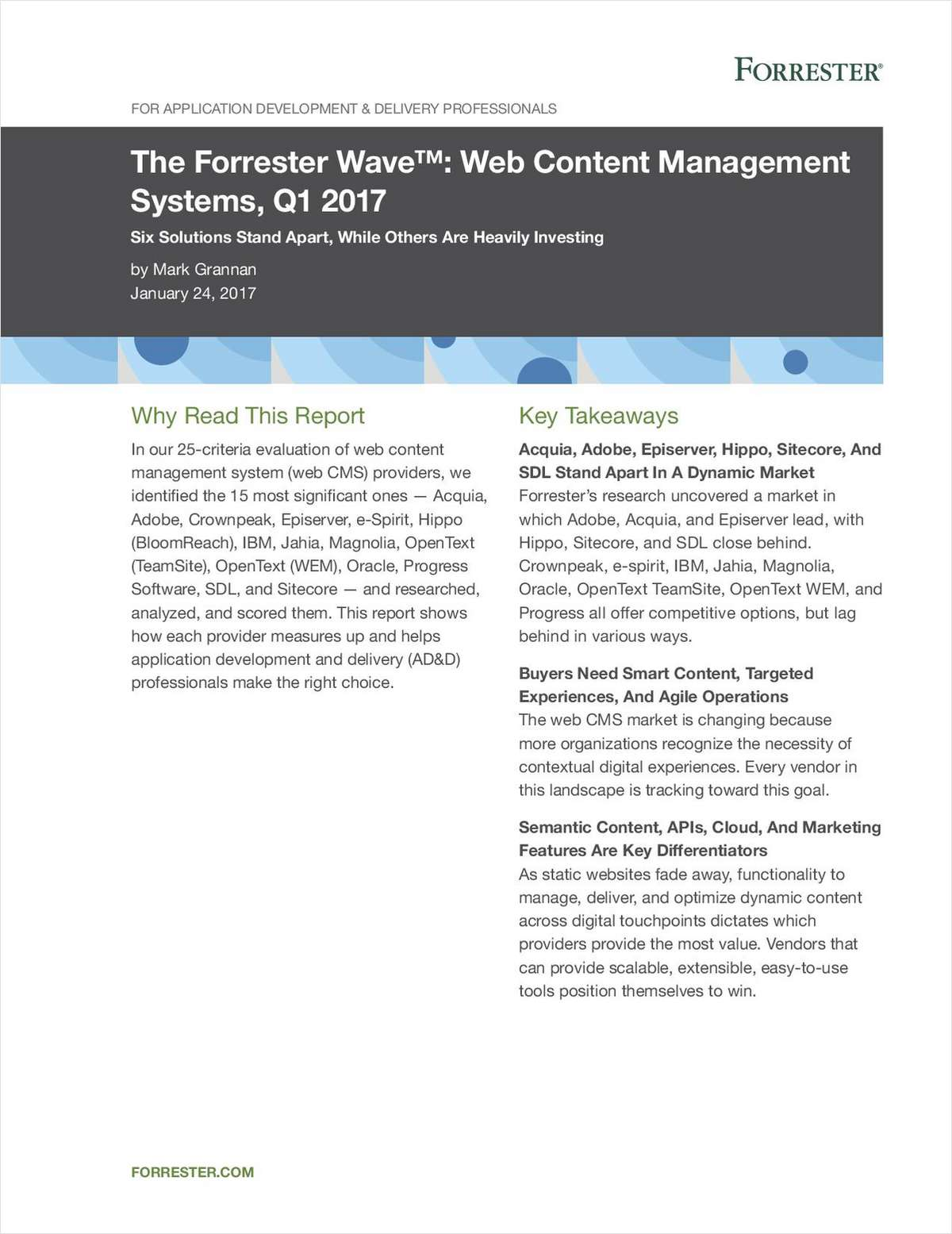 The Forrester Wave™: Web Content Management Systems, Q1 2017