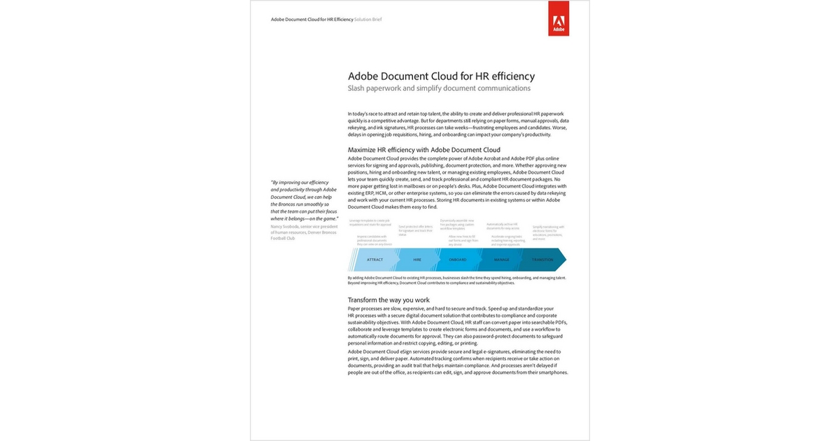 Adobe Document Cloud for HR Efficiency, Free Adobe Systems