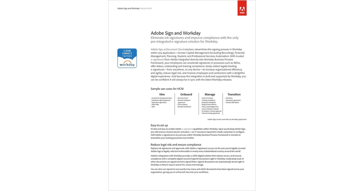 Adobe Sign And Workday Free Adobe Systems Incorporated