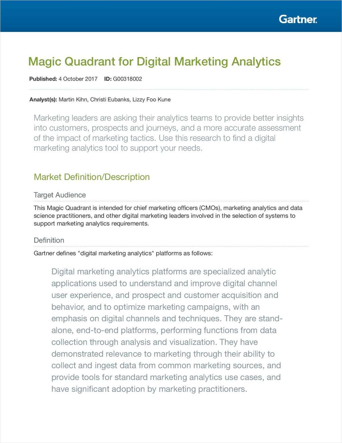 Gartner MQ: Digital Marketing Analytics
