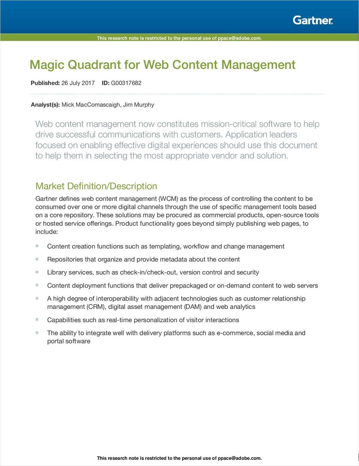 Gartner MQ : Web Content Management