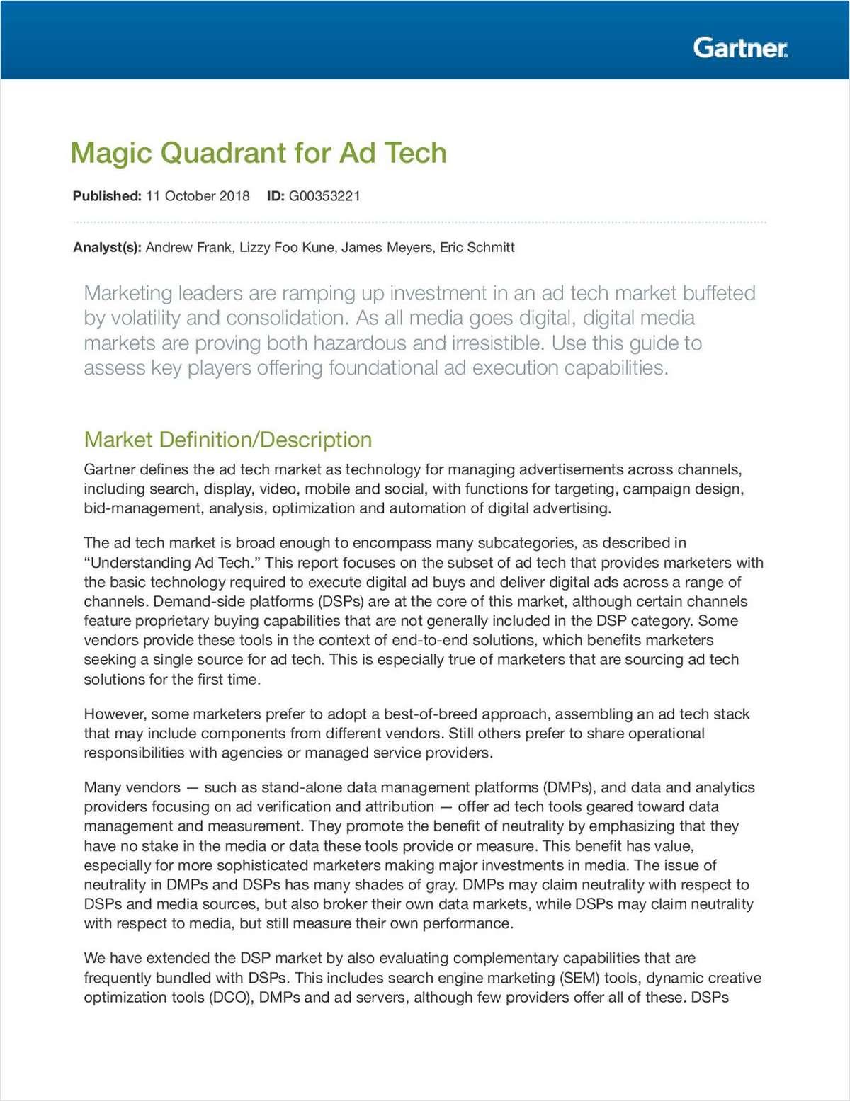 2018 Magic Quadrant for Ad Tech