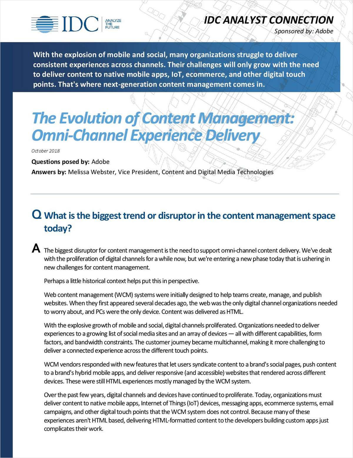 The Evolution to Content Management - Omni-Channel Experience Delivery