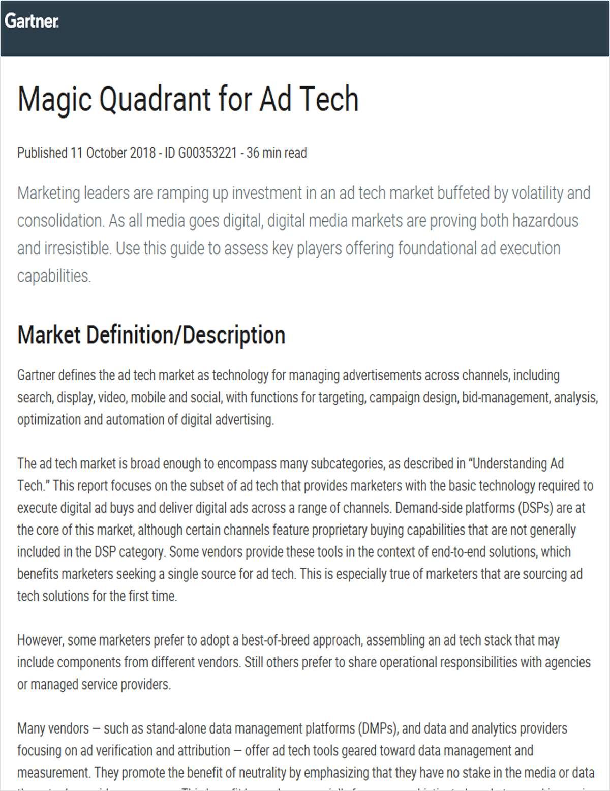 Magic Quadrant for Ad Tech