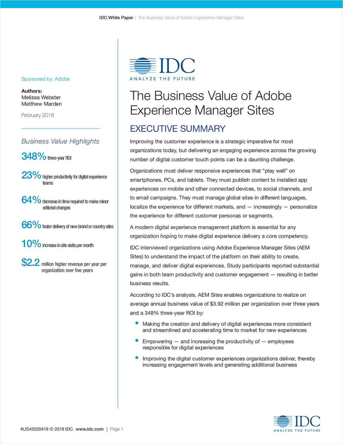 The Business Value of Adobe Experience Manager Sites, Free