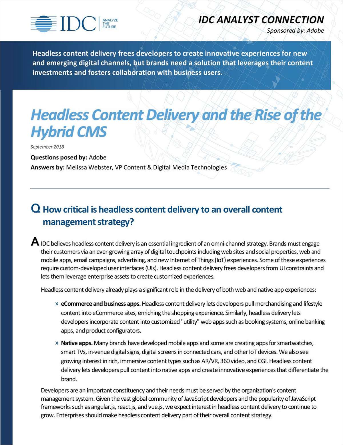 Headless Content Delivery and the Rise of the Hybrid CMS, Free Adobe